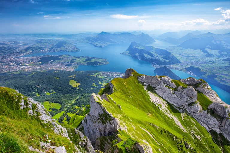 Beautiful view to Lucerne lake (Vierwaldstattersee), mountain Rigi and Swiss Alps from Pilatus mountain, Switzerland