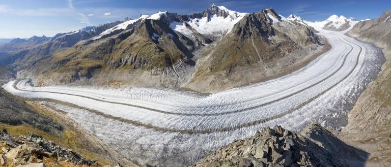 Majestic view to Aletsch glacier, the largest gracier in Alps, Valais, Switzerland